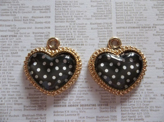 Retro Style Black Hearts with White Polka Dots in Gold Finish Frames Charms or Pendants - Qty 2