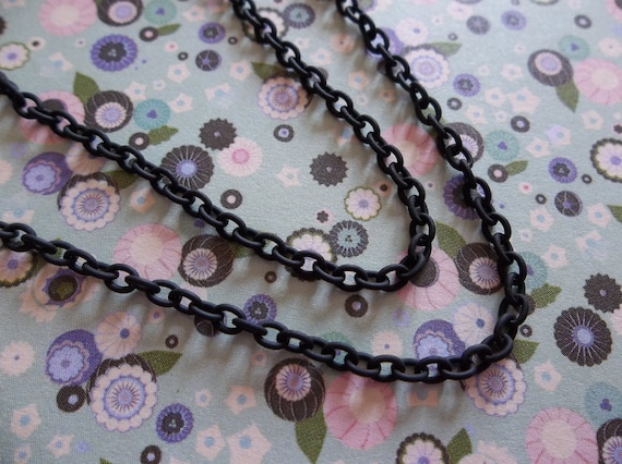 100 inches 2mm Small Oval Link Lightweight Black Chain