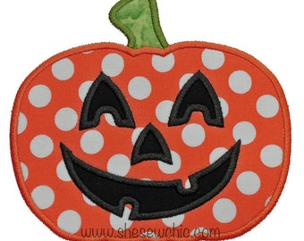 Jack O' Lantern Pumpkin- Halloween Digital Applique Embroidery Design (046)