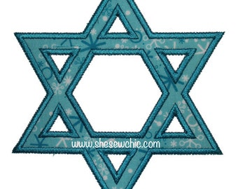 Star of David Applique - Machine Embroidery Design file  (068)
