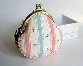 Coin Purse // Stripes // Light blue & red // Metal anchor attached