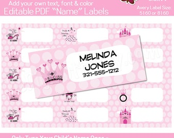 Princess - Childrens Name Labels - EDITABLE PDF - Add your own Text, Color, Font - Instant Download and Print