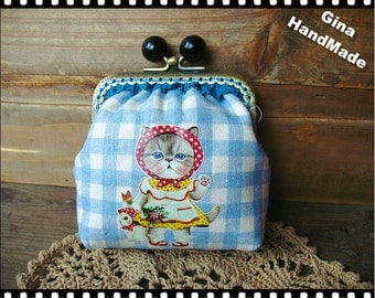 Country Cat Black candy bead metal frame purse / Coin Wallet / Pouch coin purse / Kiss lock frame purse bag-GinaHandmade