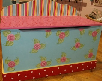 BOHO, Toy Chest, Cabbage ,Bench, Toy Box, HOPE Chest, Toy Bin, Toy Storage, Custom Wooden Childrens, Personalized, Girls toy Box