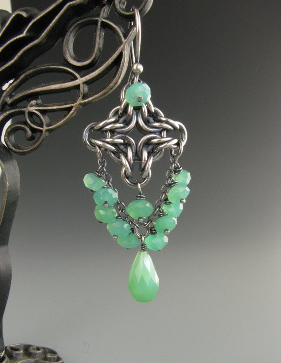 Byzantine Diamond Chainmaille Earrings with Chrysoprase