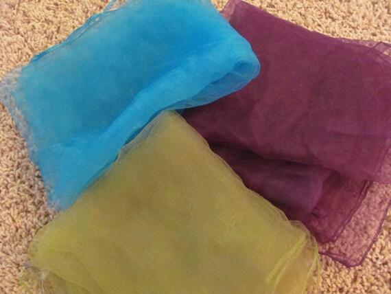 Lot of 3 Sheer Nylon Scarves - Purple Green Blue