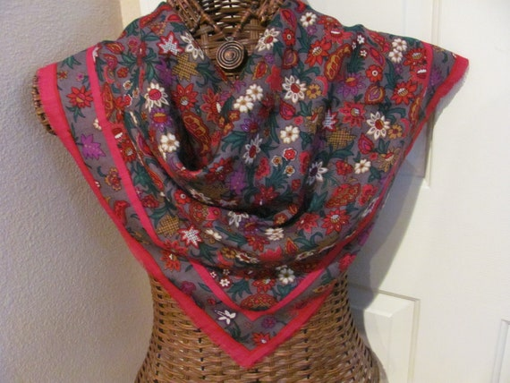 Lovely Large Red Floral Acrylic Scarf - 30 x 30 Square