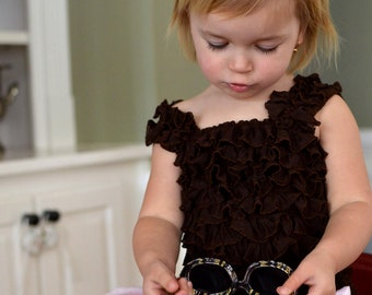 Chocolate Brown Ruffled Petti Tube Top with Straps-sizes 0-6Y