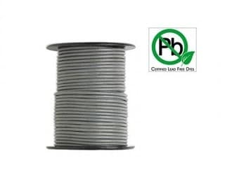 Round Leather Cord Grey  2mm 10meters
