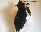 BLACK   CROCHETED  VEST,  Crocheted Flower Necklace Lariat,  Girl Black Vest Shrug