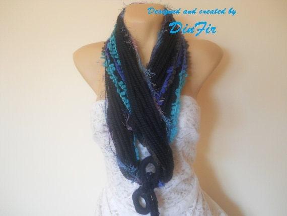 WOOL  SCARF  INFINITY / Women Accessories Scarves Loop Winter Elegant Warm / Crocheted Romantic Muffler Feminine Neckwarmer Fashion Stylish