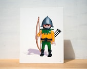 "Toy Art - Medieval Knight Large Artblock,  8"" x 10"", sale"