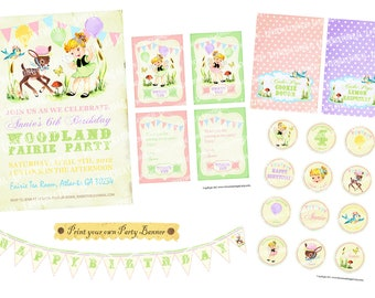 Vintage Woodland birthday party, fairy girl invitation, woodland animals, party set, Deer, Bird, thank you card, cupcake topper, banner PP08