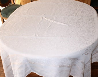 Vintage Tablecloth Shell Pink Damask 50 x 62 Inches