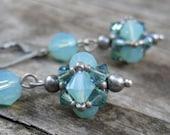 Sea Green Earrings, Aqua Beaded Earrings, Green Blue Ocean Earrings, Swarovski Crystal Earrings, Handmade Beaded Jewelry