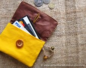 Purse in Star and Stripe, Brown and Yellow - Superhero Indie Small Card Holder