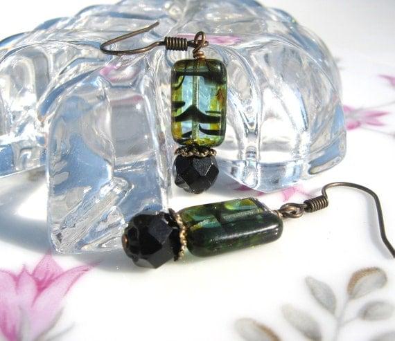 Aqua and Black Bead Earrings - Antiqued Brass
