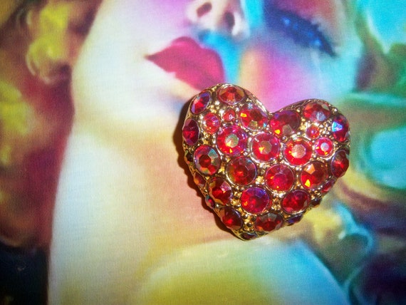 Red Aurora Borealis Heart Brooch     Bridal Brooch Bouquet