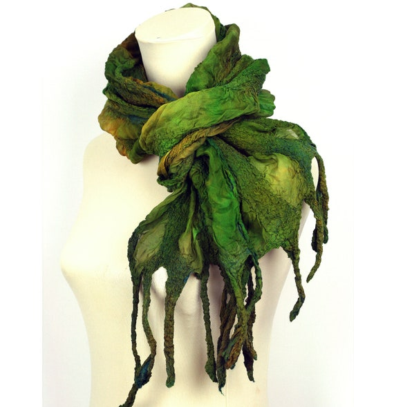 Nuno Felted Hand Dyed Silk Scarf  - Shades of Green and Brown