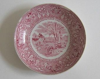 Antique Transferware Deep Saucer Plate Italy Edge Malkin & Co. Burslem Staffordshire Victorian Late 1800s Collectible Display