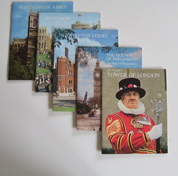 Vintage Travel Books England Tourism Travel Sights Westminster Abbey Windsor Castle Hampton Court Parliament Tower of London