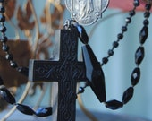 Multi-Layer Victorian Mourning Cross Necklace--Vintage Assemblage Victorian Black Glass Rhinestone Rosary Six Strand NECKLACE