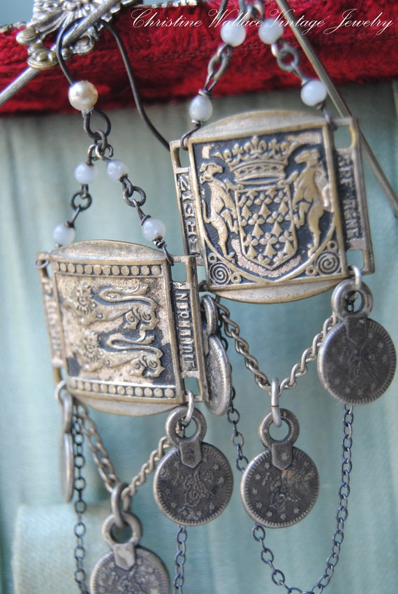 The French Explorer--Vintage Assemblage French Souvenir Travel Charm Rosary EARRINGS