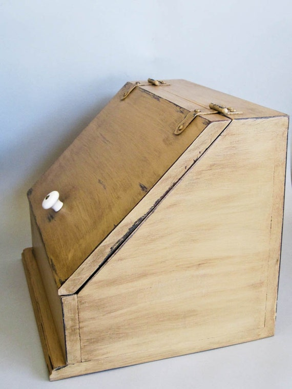 Wooden Bread Box / Storage Hand Painted, Rustic, Distressed and Aged in Pumpkin Butter