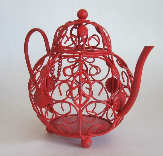 Little Red Metal Teapot Kitchen Decor Hand Painted and Distressed