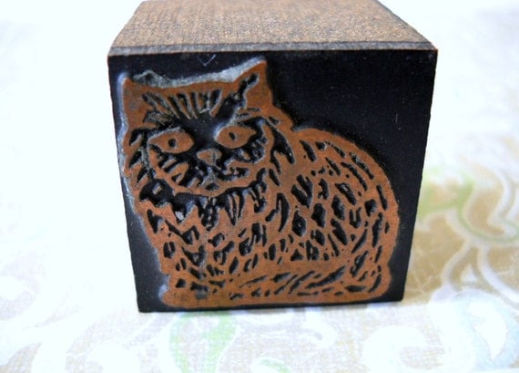 Copper Wood Block Stamp Sitting Cat Meow