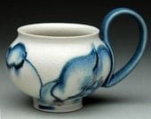 Handmade Coffee Mug: Porcelain Blue and White Floral Cup with Handle with SIlver Luster Accents