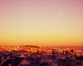 Lisbon Portugal Pink Sunset Moonrise Rooftop View Wall Decor (10x20 digital print only)