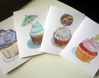 Paper Goods - Cupcake Stationery - Greeting Cards - Cupcake Art Cards (Ed. 3), Set of 8