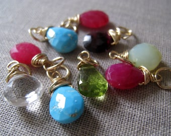 Birthstone pendant, wire wrapped gemstone pendant, colorful gemstones, gold and silver, add charm to your necklace