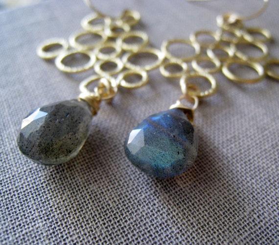 Labradorite earrings, gold and grey, modern chandelier earrings, bridesmaid gifts, gemstone earrings