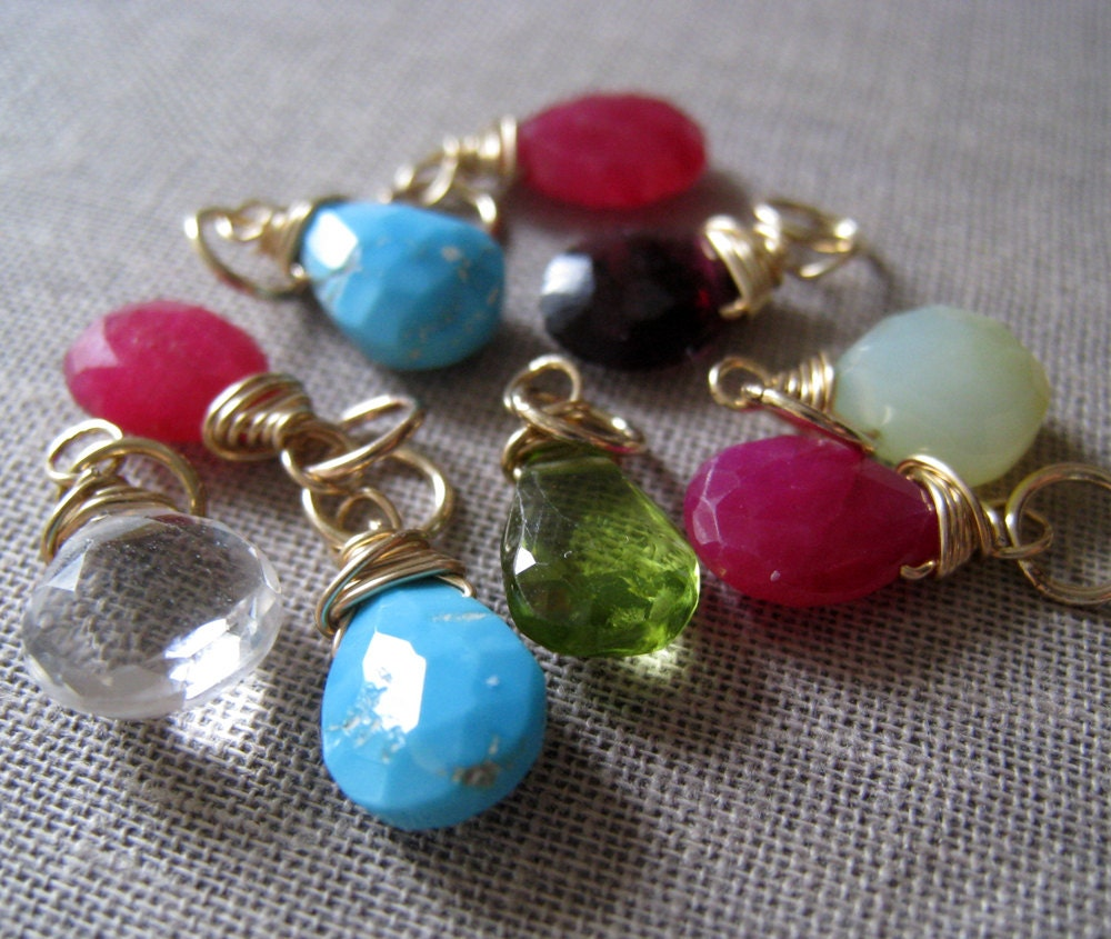 birthstone pendant wire wrapped gemstone pendant colorful