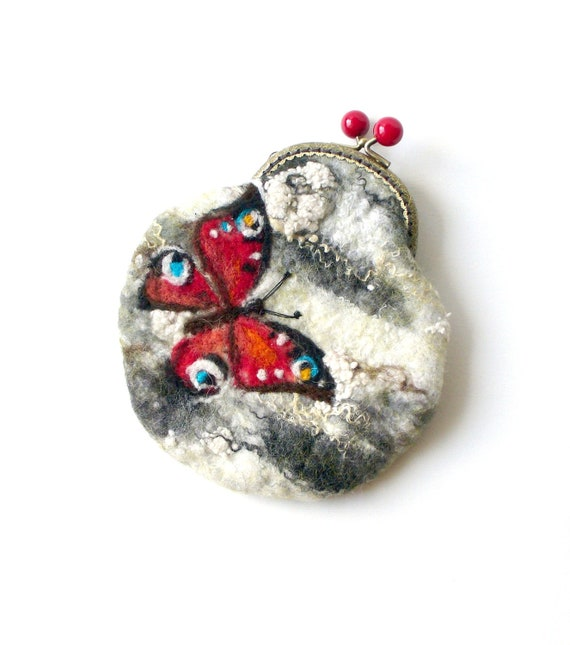 Wet Felted Butterfly on a birch tree coin purse Ready to Ship with bag frame metal closure Handmade  gift for her under 50 USD