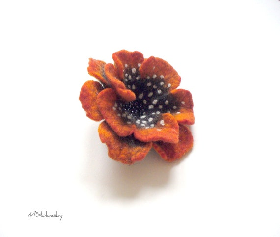 Grey - orange FLOWER handfelted wool brooch - Ready to Ship Now - Gift under 25 USD