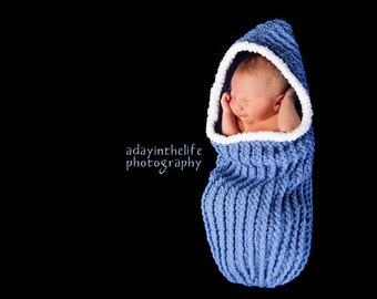 Ribbed Cuddle Cocoon with Hood pdf PATTERN (digital download), crochet, bunting, swaddle sac, cuddle sac, baby wrap, photo prop for baby