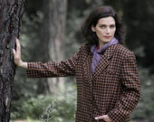 Brown checkered pure Wool Autumn jacket