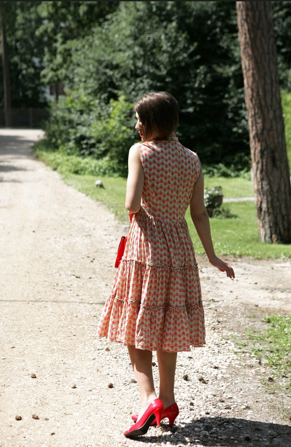 1950ies Cotton ruffled Sundress  - Orange and Green Geometric print full skirt
