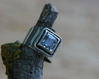 Sterling Silver Ring, Aquamarine  Ring, Handmade Silver Ring,Silver Ring, Birthstone Ring, Solitaire Ring,