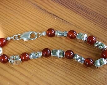 Carnelian Bracelet , Silver Bracelet , Handmade Silver, Silver  Beads Bracelet