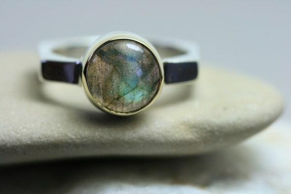 Silver Ring, Gemstone Ring, Geometric Ring,Labradorite  Ring,  Sterling Silver Ring , Handmade Ring,