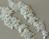 Beaded offwhite light ivory bridal lace applique -Appset-002