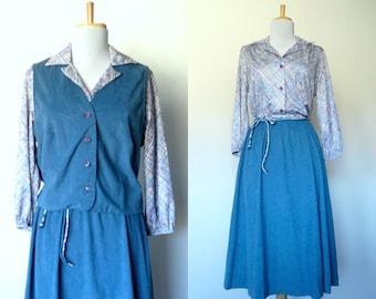 Vintage 70s two piece blue velveteen dress and vest set (medium - large)