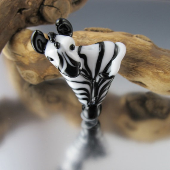 Zebra -  Lampwork Bead -  MADE TO ODER