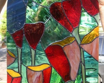 """Nine California Poppies- 20"""" x 12"""" -Rounded Top Stained Glass Window Panel"""