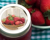Market Fresh Strawberry Canning jar labels 2 inch round stickers for mason jars, for jam, jelly, and fruit preservation