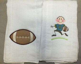 Football burp cloth baby boy football burp cloth sports burp cloth personalized burp cloth